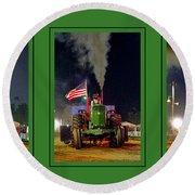 John Deere Tractor Pull Poster Round Beach Towel