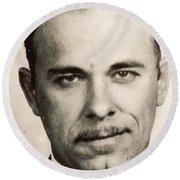 John Dillinger Mug Shot Sepia Round Beach Towel