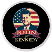 John F Kennedy American Banner Pop Art Round Beach Towel
