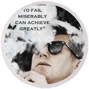 John F Kennedy Cigar And Sunglasses 3 And Quote Round Beach Towel