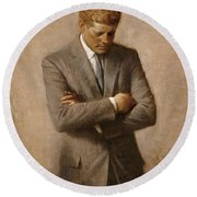 John F Kennedy Round Beach Towel by War Is Hell Store