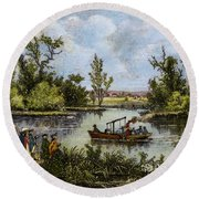 John Fitch Steamboat, 1796 Round Beach Towel