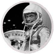 John Glenn Wearing A Space Suit Round Beach Towel