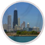 John Hancock Center Chicago Round Beach Towel