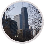 John Hancock Center II Round Beach Towel