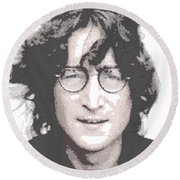 John Lennon - Parallel Hatching Round Beach Towel