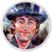 John Lennon Portrait Round Beach Towel