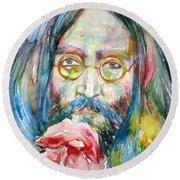 John Lennon - Watercolor Portrait.9 Round Beach Towel