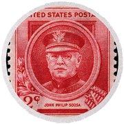 John Philip Sousa Postage Stamp Round Beach Towel