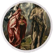 John The Baptist And Saint John The Evangelist Round Beach Towel