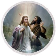 John The Baptist Baptizes Jesus Christ Round Beach Towel