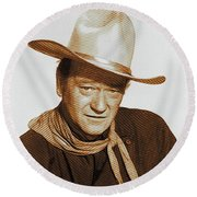 John Wayne, Hollywood Legend Round Beach Towel