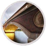 John Weeks Bridge Charles River Harvard Square Cambridge Ma Round Beach Towel