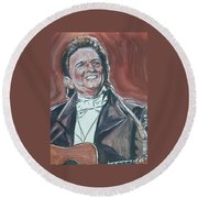 Johnny Cash Round Beach Towel