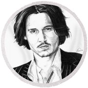 Johnny Depp Portrait Round Beach Towel