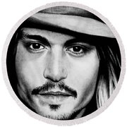 Johnny Depp  Round Beach Towel