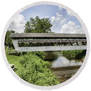 Johnston Covered Bridge Round Beach Towel