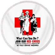 Join Our Red Cross Round Beach Towel