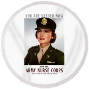 Join The Army Nurse Corps Round Beach Towel by War Is Hell Store
