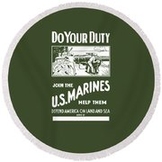 Join The Us Marines Round Beach Towel by War Is Hell Store