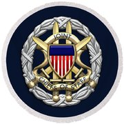 Joint Chiefs Of Staff - J C S Identification Badge On Blue Velvet Round Beach Towel
