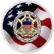 Joint Chiefs Of Staff - J C S Identification Badge Over U. S. Flag Round Beach Towel