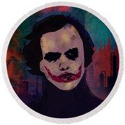 Joker Heath Ledger The Dark Knight Round Beach Towel