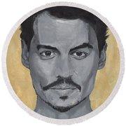 Jonny Depp  Round Beach Towel