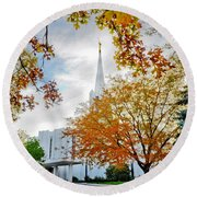 Jordan River Temple Round Beach Towel by La Rae  Roberts