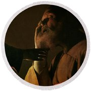 Joseph And The Angel Round Beach Towel by Georges de la Tour