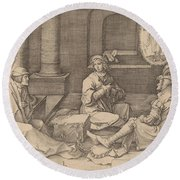 Joseph Interprets The Dreams In Prison Round Beach Towel