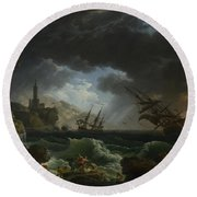 Joseph Vernet   A Shipwreck In Stormy Seas Round Beach Towel