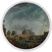 Joseph Vernet   A Sporting Contest On The Tiber At Rome Round Beach Towel