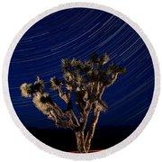 Joshua Tree And Star Trails Round Beach Towel by Steve Gadomski