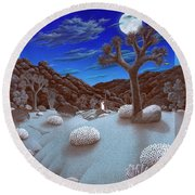 Joshua Tree At Night Round Beach Towel