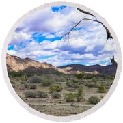 Joshua Tree National Park Landscape Round Beach Towel