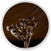 Joshua Tree Night Lights Death Valley Bw Round Beach Towel