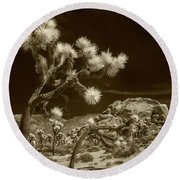Joshua Trees And Boulders In Infrared Sepia Tone Round Beach Towel