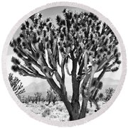 Joshua Trees Bw Round Beach Towel