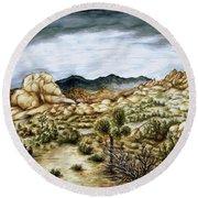 California Desert Landscape - Watercolor Art Round Beach Towel