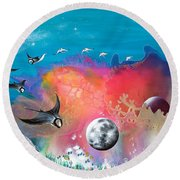 Journey To The Snow Coral Round Beach Towel