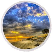 Journey To The Sunset Round Beach Towel
