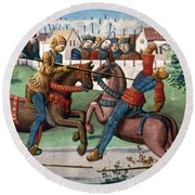 Jousting Knights, 1499 Round Beach Towel