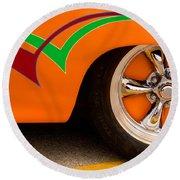 Joy Ride - Street Rod In Orange, Red, And Green Round Beach Towel