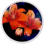 Joyful Lilies Round Beach Towel