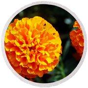 Joyful Orange Floral Lace Round Beach Towel