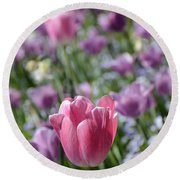 Joyful Tulip Round Beach Towel