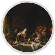 Judith And Holofernes Round Beach Towel