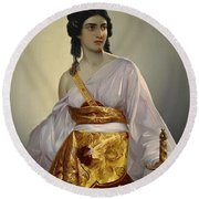 Judith With Thedecapitated Head Of Holofernes  Round Beach Towel