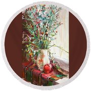 Jug With  Red Apple Round Beach Towel